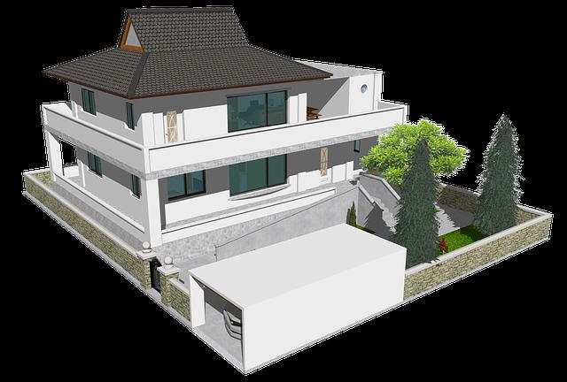 ilustrace domu s betonovým plůtkem
